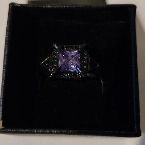 Silver gunmetal lavender crystal ring